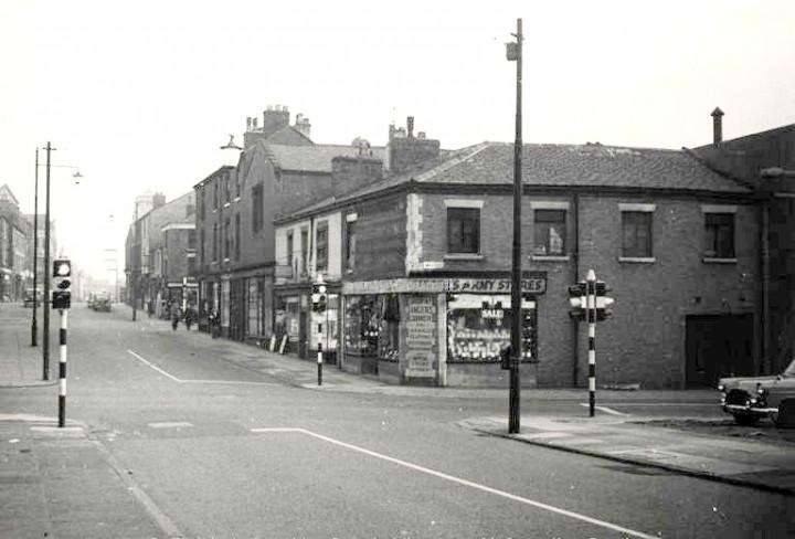 Southward view of former Slingers shop along Lancaster Road at Walker Street intersection