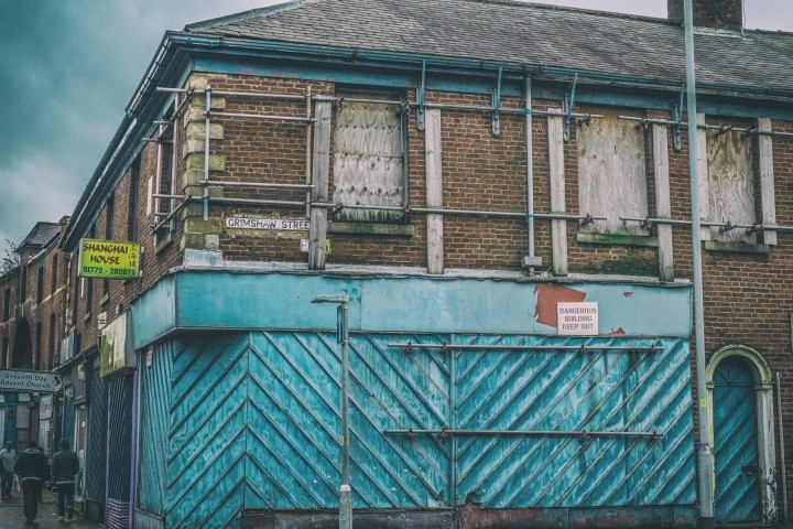 One of the boarded up buildings in Church Street