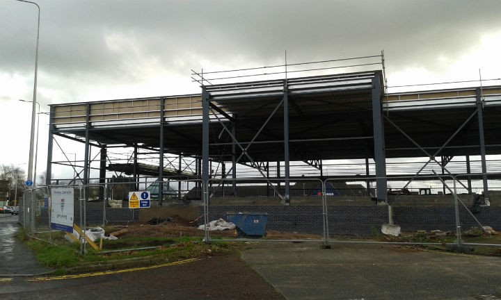 Construction site of the new Aldi store as seen from Ringway