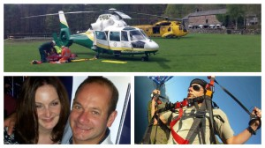 The air ambulance team working to save Dave, he and his fiancee Karin and Dave pictured paragliding