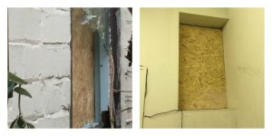 Damage caused to a window at the Church Street premises