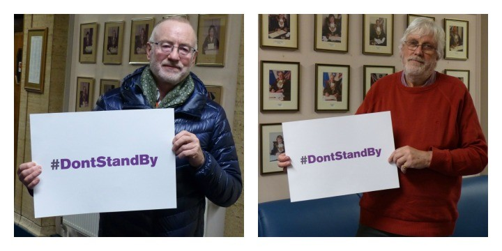Councillors Peter Rankin and Neil Cartwright with the #DontsSandBy campaign