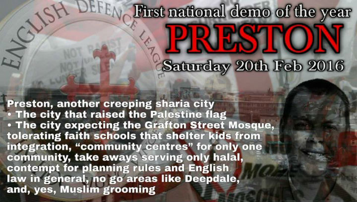 Drew Gale's picture features on the online poster the EDL are using on social media to promote the demo
