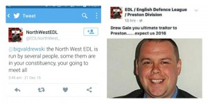 A Twitter and Facebook post mentioning Drew Gale