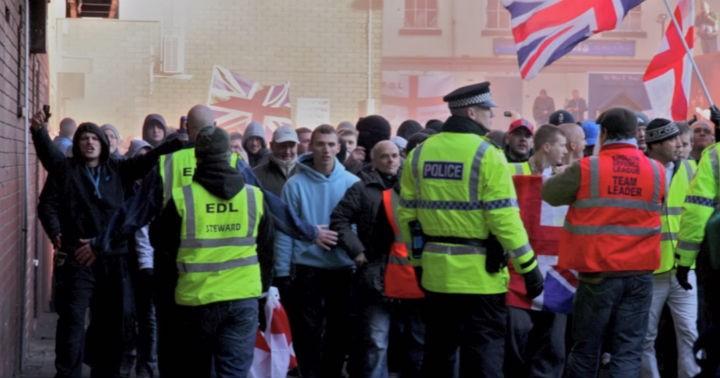 Police at the EDL demo in Preston in November 2010