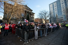 English Defence League members in Preston during a protest in 2010 Pic: pixel.eight
