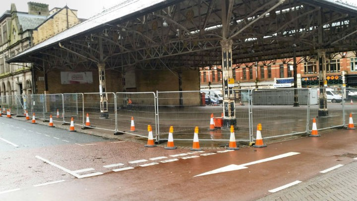 Fencing up around Preston's Fish Market on Tuesday Pic: Paul Cleaver