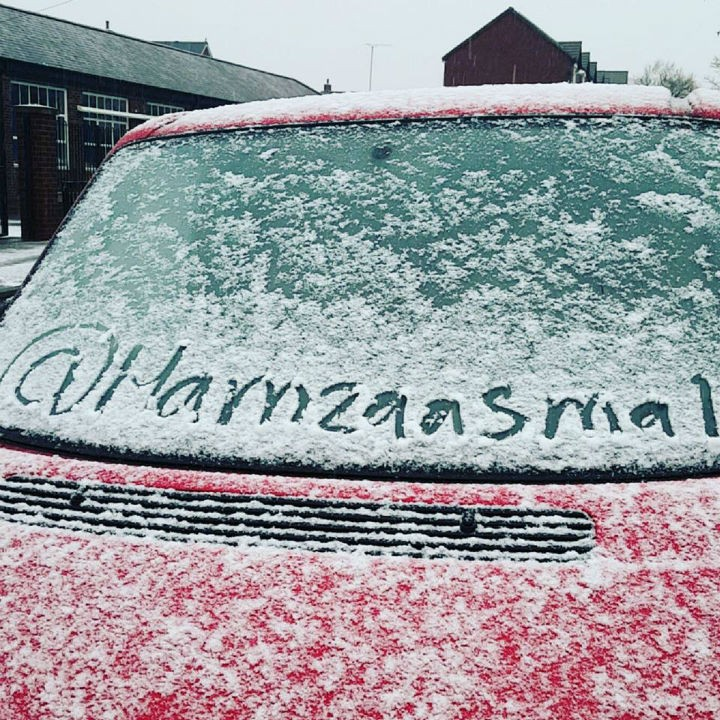 Snow covers a car in Frenchwood Pic: Hamza Asmal