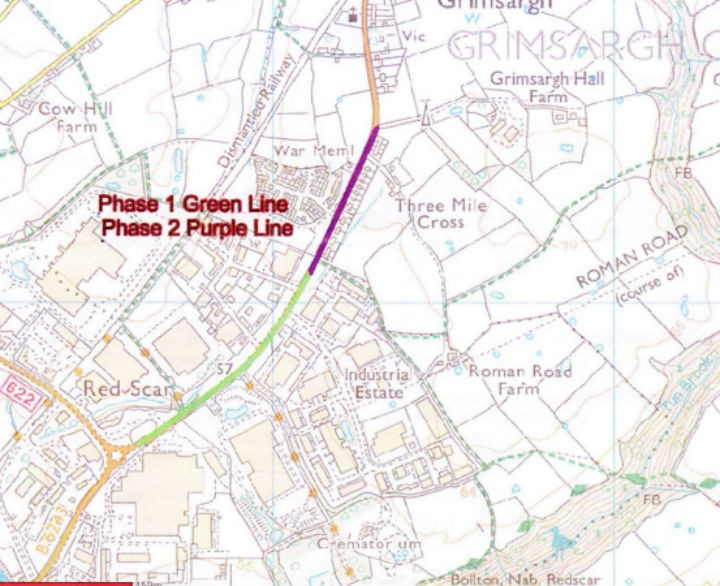 Map showing where the two stages of roadworks take place