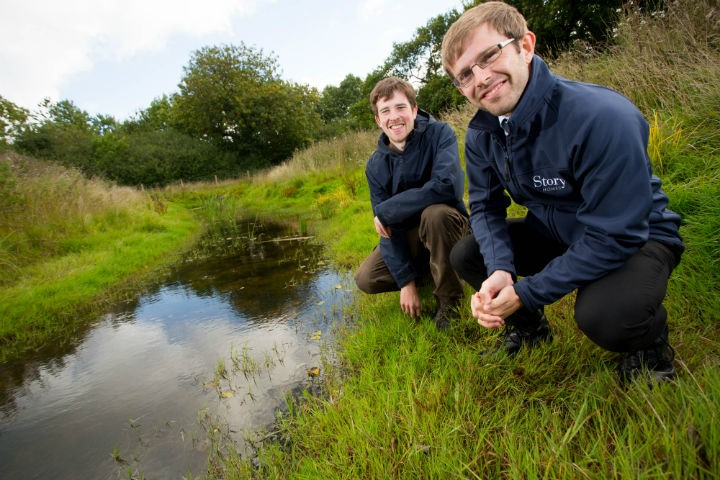 Martin Nugent (right) from Story Homes with ecoloist Rob Wreglesworth from Urban Green, pictured at the newt ponds