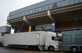 Broadcast trucks parked up at the Guild Hall on Friday morning Pic: Tony Worrall