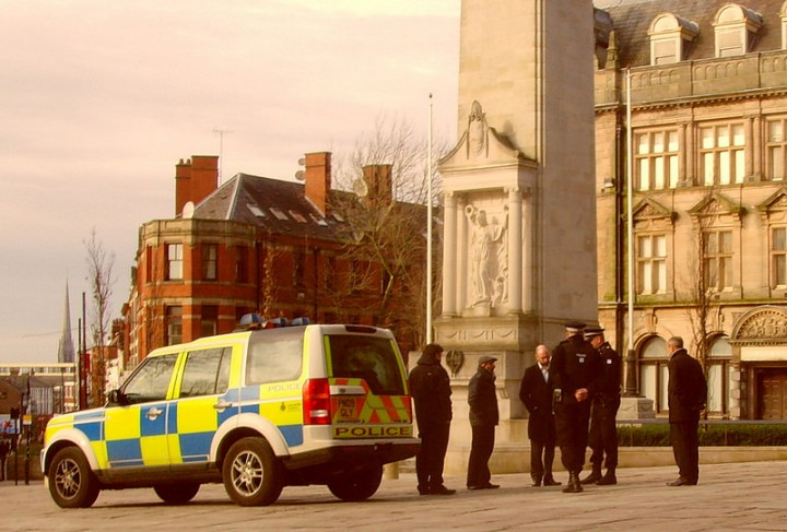 Police officers on the Flag Market this week during a logistics exercise Pic: Tony Worrall