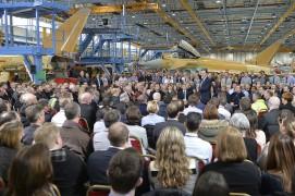 BAE Systems staff hear from David Cameron at Warton