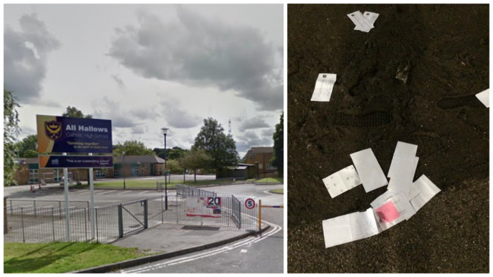 All Hallows Catholic High School are looking into how these documents were found scattered in a Liverpool car park.