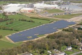 The solar farm at the Samlesbury site