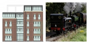 An artist impression of the Maritime Way flats and a Ribble Steam Railway engine in operation