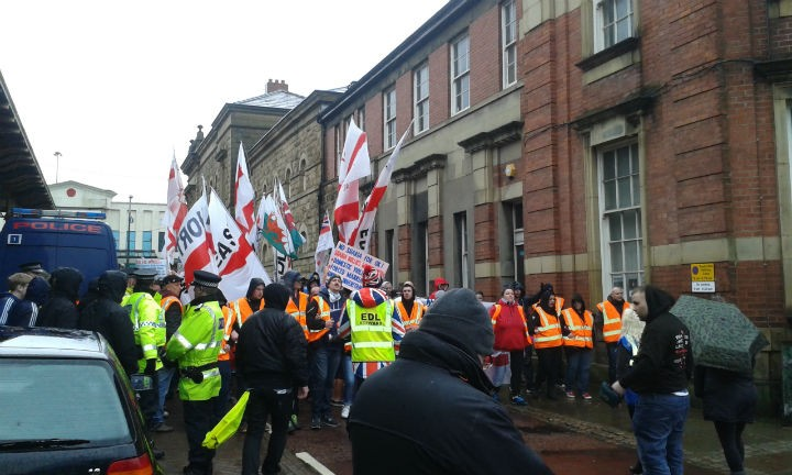 English Defence League march in Preston