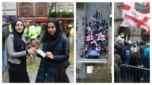 Muslim girls hand out roses on the Flag Market (Pic Dave Wilcox), the EDL demo as seen from the police helicopter, and flags at the EDL demo