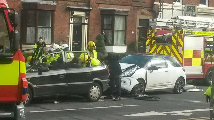 Emergency services at the scene on Monday in Garstang Road Pic: Becky Edwards