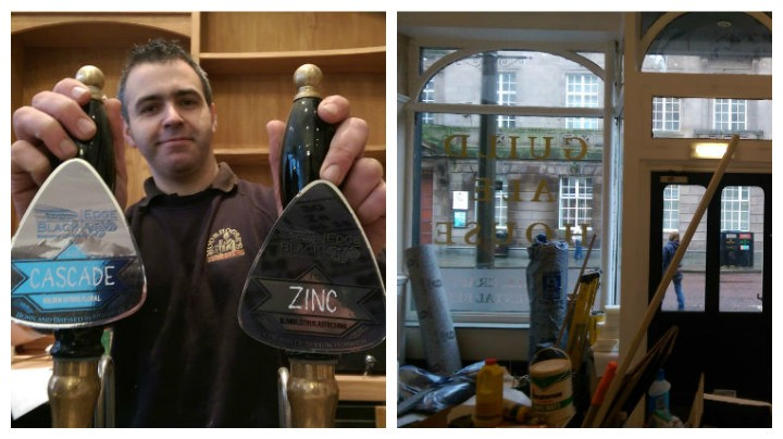 Gary Quinn behind the bar and how the front of the Ale House is shaping up