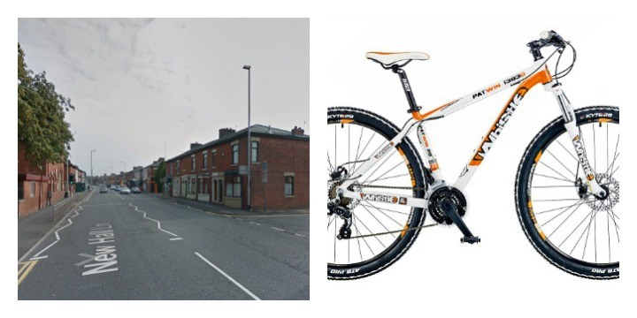 New Hall Lane where the incident happened and the bike which was taken