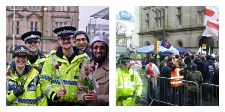 Police officers at the Community Celebration event (Pic: Dawn Mander) and the EDL in Birley Street watched by officers