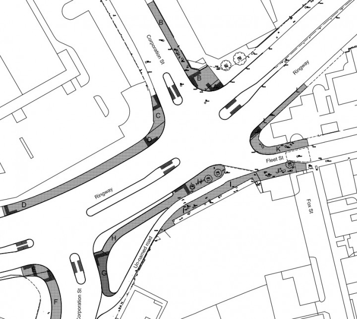 The shaded areas show where the footpaths would become cycle tracks