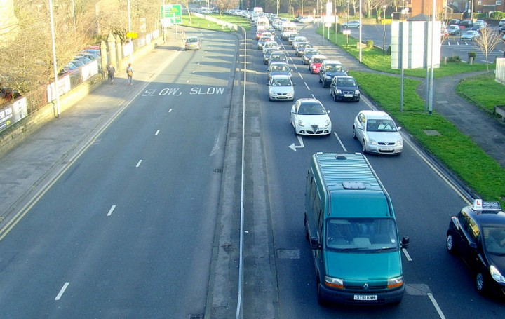 Traffic backed up on the Ringway Pic: Tony Worrall