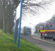 The bus near Royal Preston Hospital on Thursday afternoon