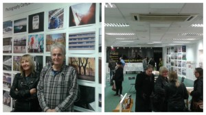 Jan and Chris, left, with the public photo competition, and right, inside 3 Friargate