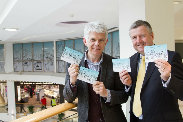 Chris Murphy and St George's manager Andrew Stringer with the postcards