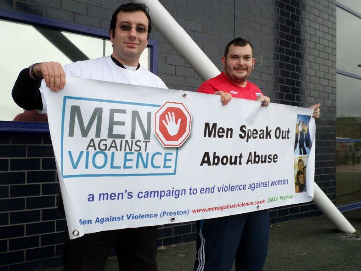 Chris Flux, left, formed the Men Against Violence group