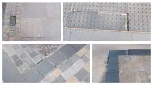 Some of the places where there are issues with the paving, as snapped by a reader who 'walks the street twice a day or more'