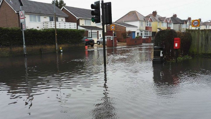 The road and pavement covered in water in Lea Pic: Benny Mc'Nally