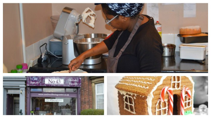 Lia at work baking, the premises in Garstang Road and a gingerbread house