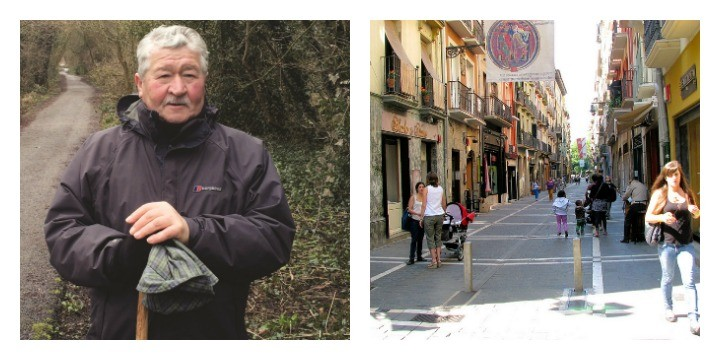Michael preparing for his walk, and Pamplona on the right