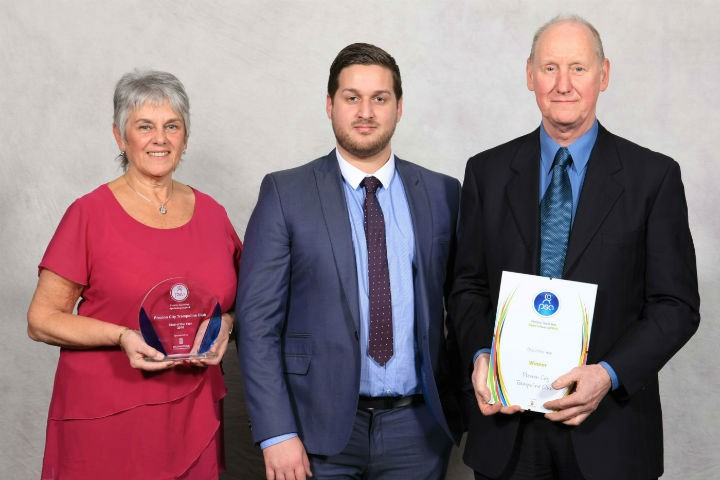 The Robson's receive the award for the City Trampoline Club