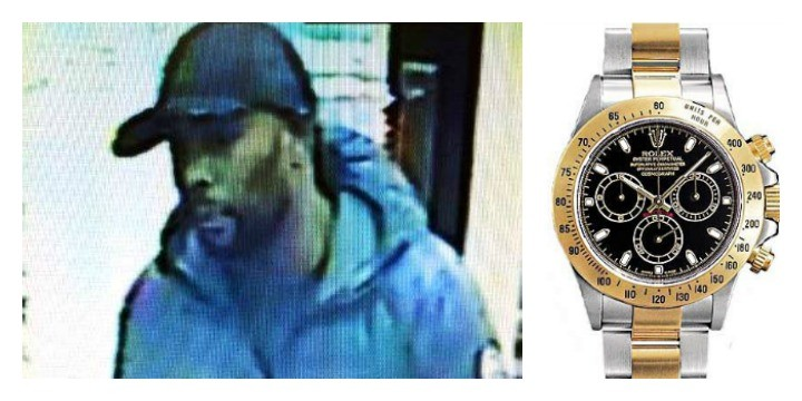 A man in blue the police would like to speak to, and an example of the Rolex Daytona watch