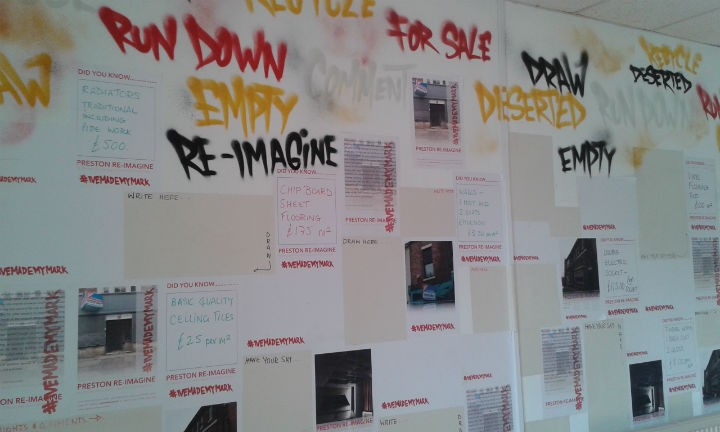 One of the walls asks for suggestions on what should happen to buildings in the city
