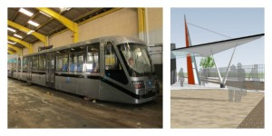 One of the trams which could come to Preston, and an artist impression of the Deepdale station