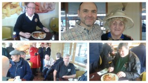 From top left clockwise: Steve Hutchinson from the Veterans Council, Rob Wilson and Mayor of Preston cllr McManus, the veterans in the Bus Station cafe and a veteran tucks into his breakfast