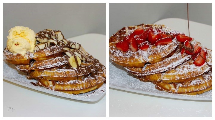 Two of the waffle flavours available to try