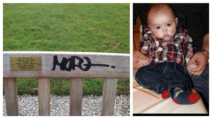 The graffiti scrawled on the bench in memory of AJ (right)