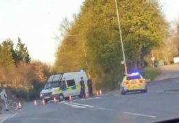 Police blockade in place on the A59 at Brockholes Brow