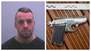Ashley Gerrard and the imitation firearm recovered by police