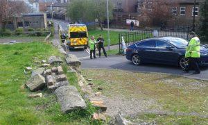 Police and paramedics at the car park near Preston Minster