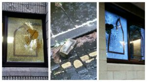Windows of the mosque show signs of damage, and a brick found nearby