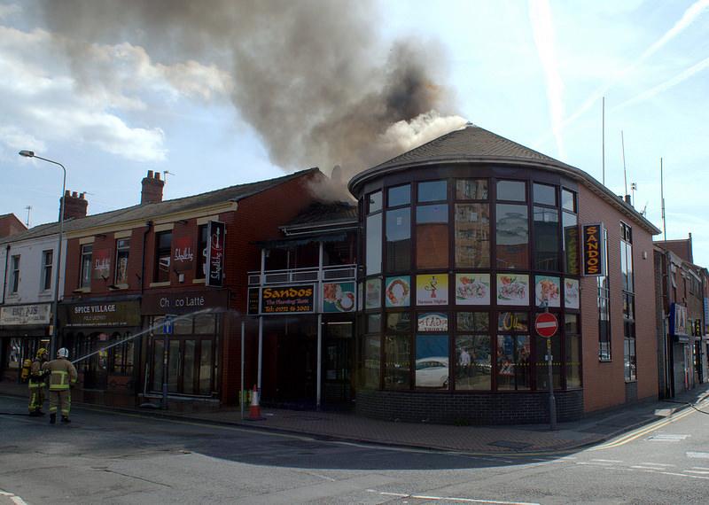 Sandos fire in Church Street Pic: Tony Worrall