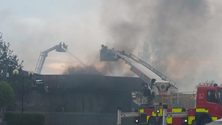 The aerial ladder crews in action