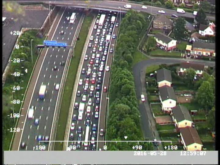 Another view showing the hard shoulder being used in the tailbacks